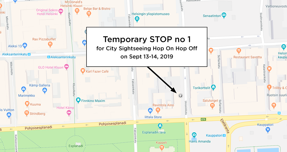 Changes in HOP ON HOP OFF route on Sept 13-14, 2019