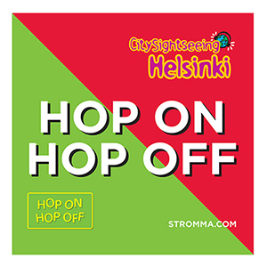 Hop On Hop Off bus stop sign