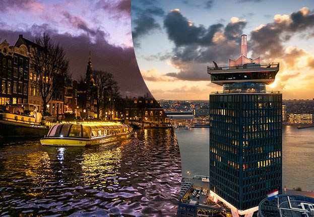 Canal cruise with purple sky and A'DAM Tower during sunset