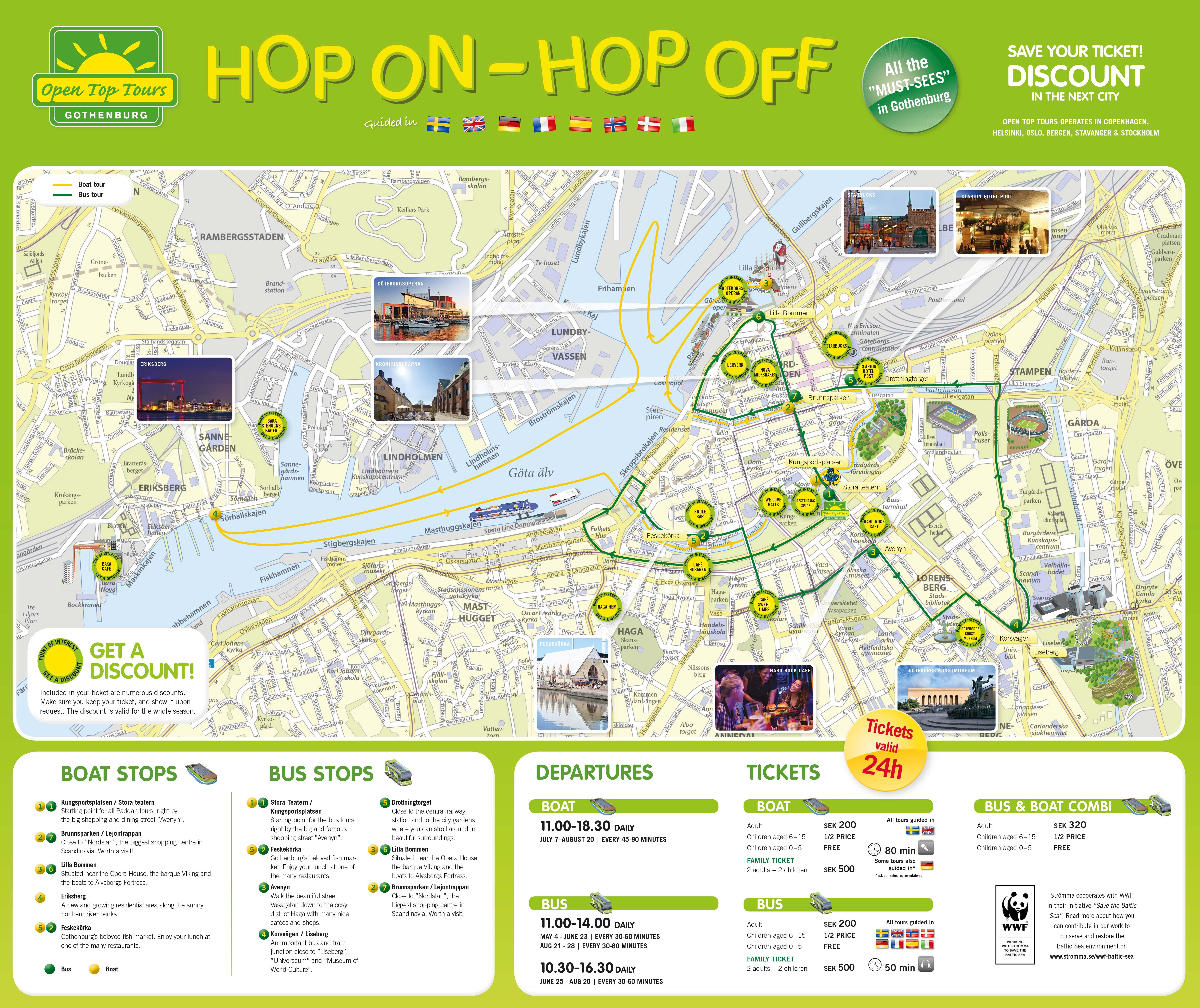 HopOn HopOff Gothenburg Bus And Boat Strommase - Sweden map gothenburg