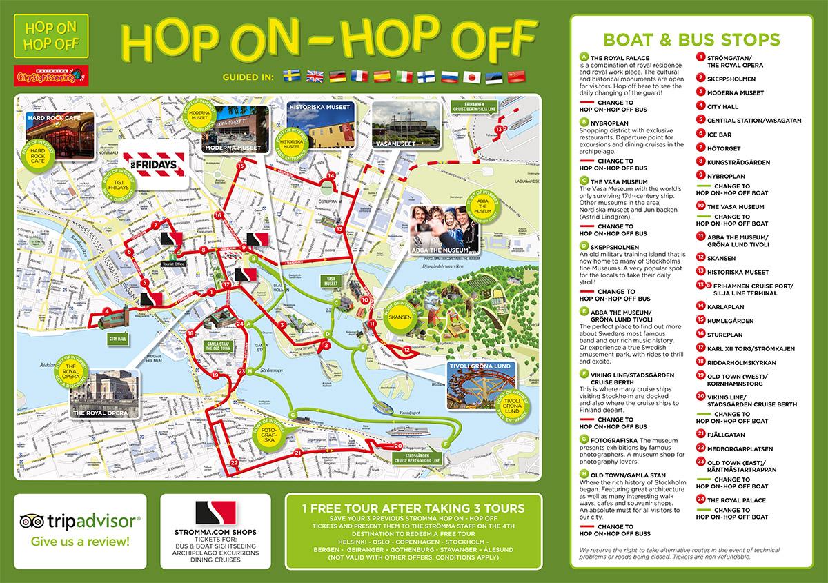 Hop On Hop Off Bus Sightseeing Stockholm Strommase - Sweden bus map