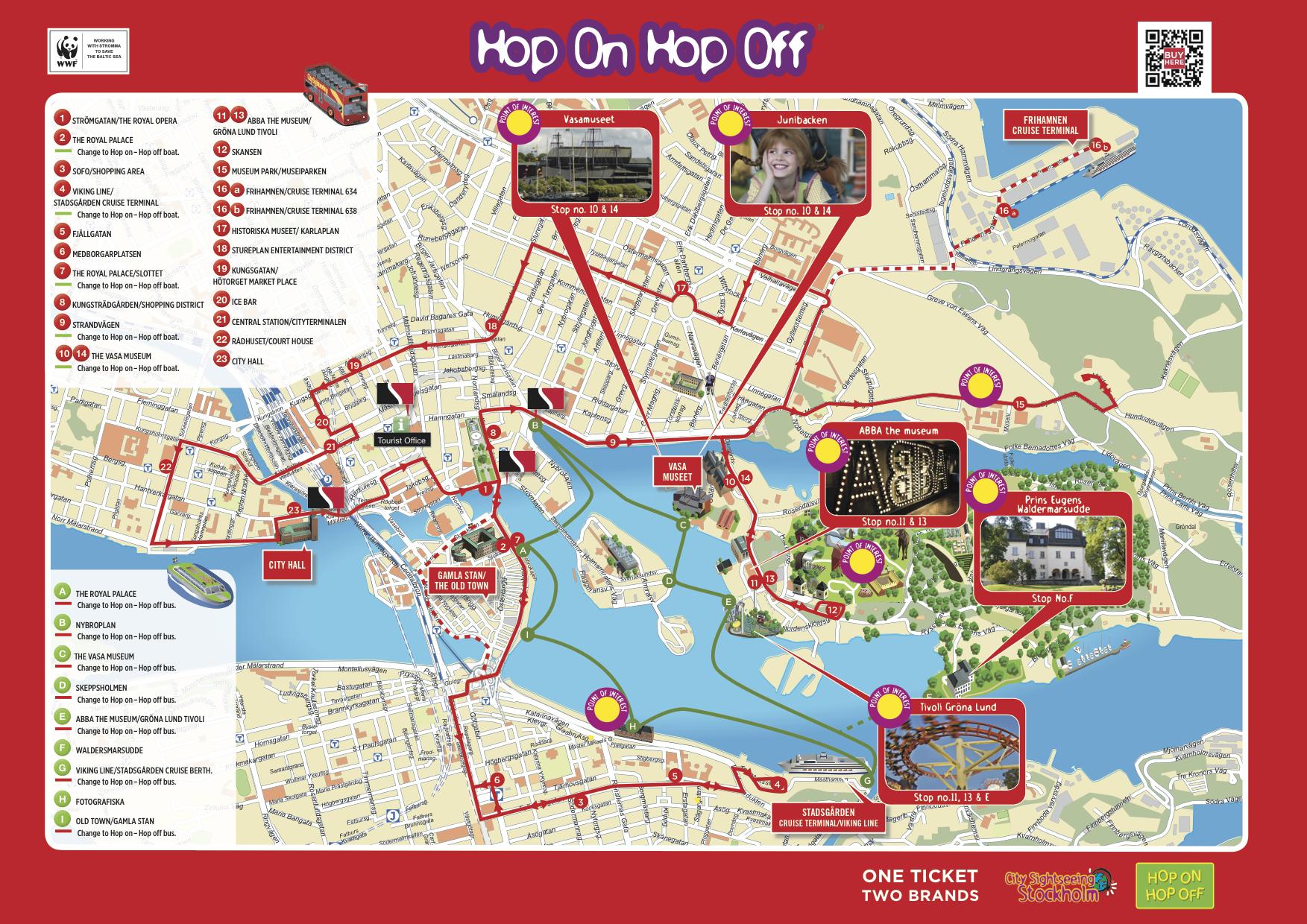 Cityplan mit Hop On Hop Off Stationen bereitgestellt von https://www.stromma.com