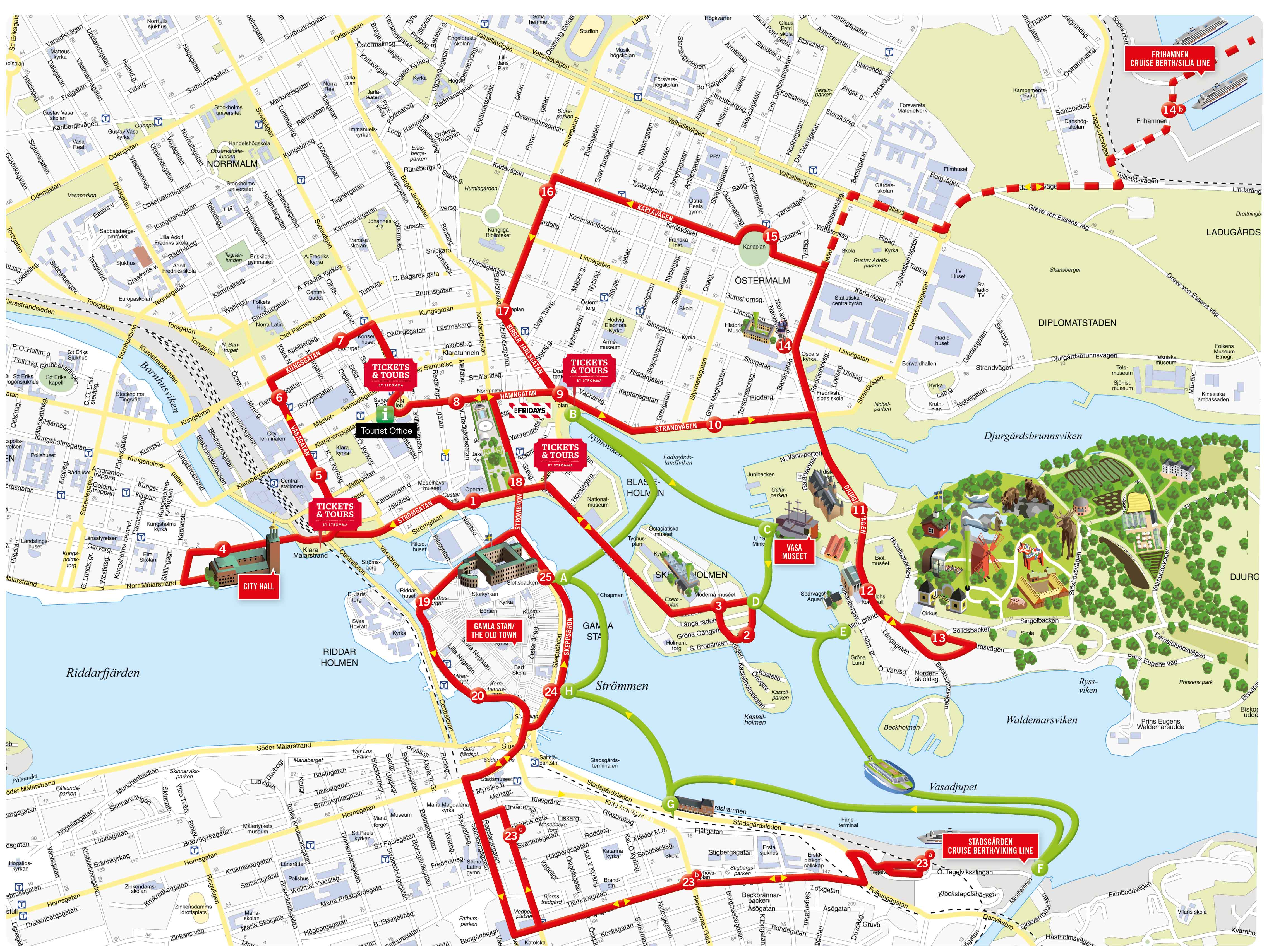 Hop On Hop Off bus sightseeingholm – Sweden Tourist Attractions Map
