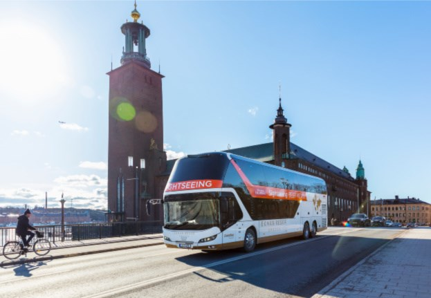 Panorama bus in front of the City hall of Stockholm