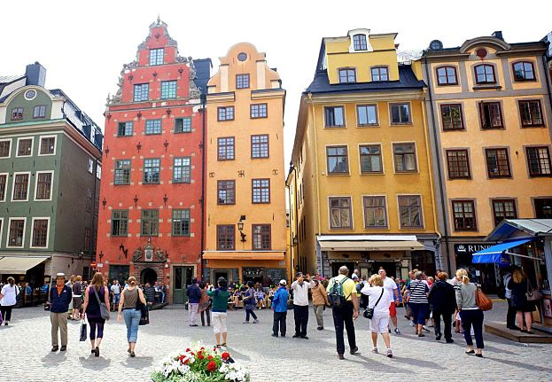 View of Stockholm city in Sweden, The Old Town (Gamla Stan ...